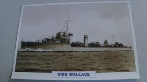1918 HM Wallace Destroyer warship framed picture